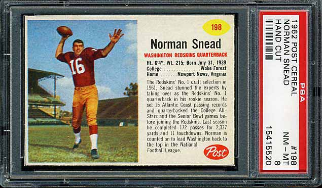 1962 Post Cereal Norm Snead
