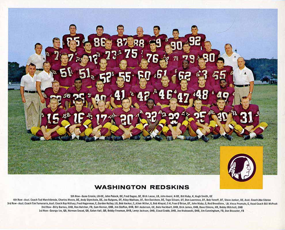 1962 Tang Team Photo Washington Redskins