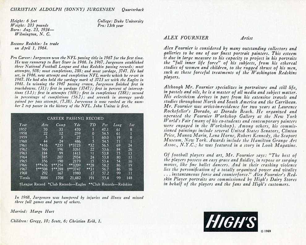 1969 Highs Dairy Jurgensen