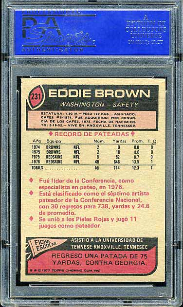 1977 Topps Mexican Redskins Eddie Brown