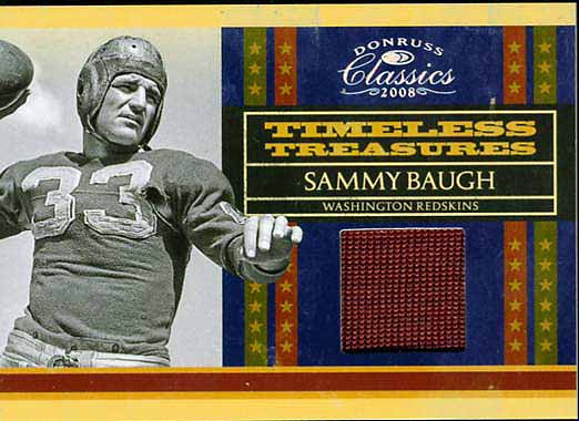 Sammy Baugh Jersey Card
